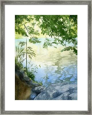 Framed Print featuring the painting Lake Impression 2 by Eleonora Perlic