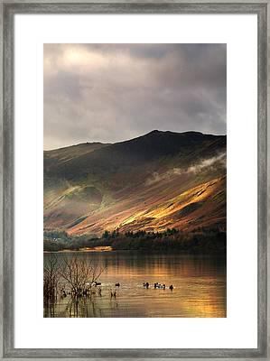 Lake In Cumbria, England Framed Print by John Short