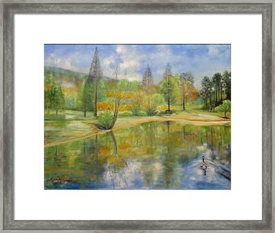 Lake In Springtime. Framed Print by Max Mckenzie