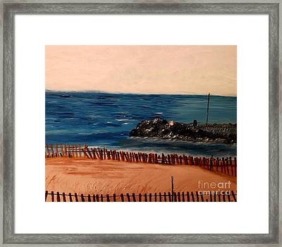 Framed Print featuring the painting Lake Michigan Blues by Ayasha Loya
