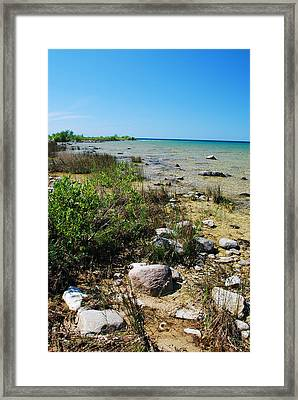Lake Michigan Shoreline On A Sunny Afternoon Framed Print by Janice Adomeit