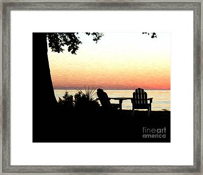Framed Print featuring the photograph Lake Michigan Sunset by Anne Raczkowski