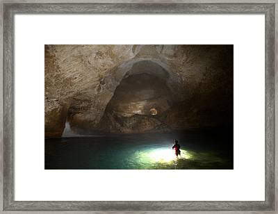 Lake Myos Turquoise Depths Illuminated Framed Print by Stephen Alvarez