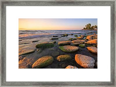 Lake Ontario Sunrise Framed Print by Charline Xia