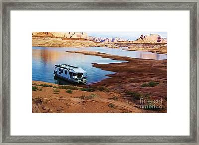 Lake Powell Houseboat Framed Print by Michele Penner