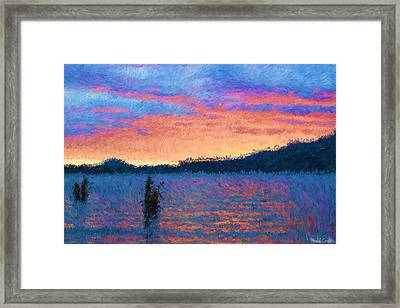 Lake Quinault Sunset - Impressionism Framed Print by Heidi Smith