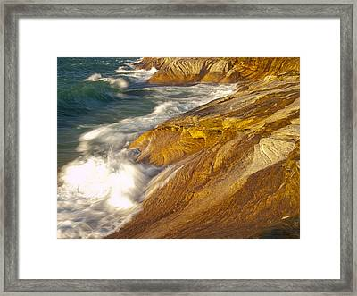 Lake Superiors Fury Framed Print by Cindy Lindow