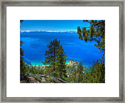 Lake Tahoe Sand Harbor State Park From Flume Trail Framed Print by Scott McGuire