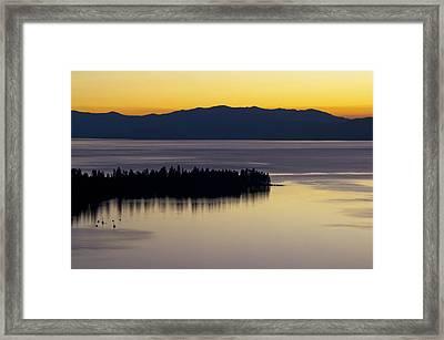 Lake Tahoe Silhouette - California Framed Print by Brendan Reals