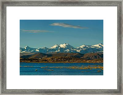 Lake Titicaca And The Cordillera Real In The Background.republic Of Bolivia. Framed Print by Eric Bauer