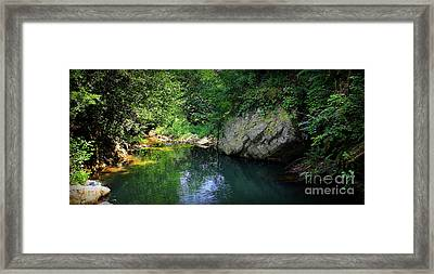 Lake With Rocks In The Mountain Framed Print by Radoslav Nedelchev