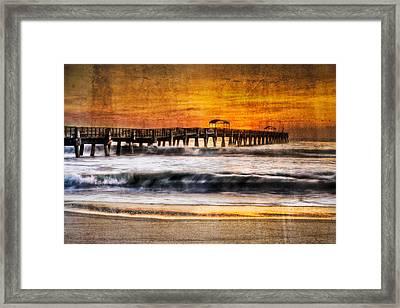Lake Worth Pier Framed Print by Debra and Dave Vanderlaan