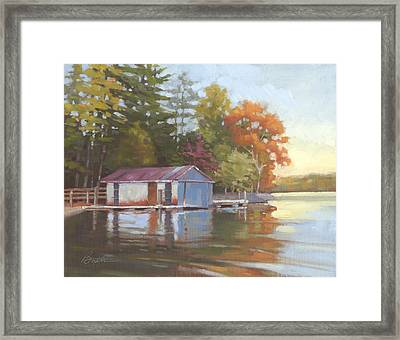 Lake Wylie Boathouse Framed Print by Todd Baxter