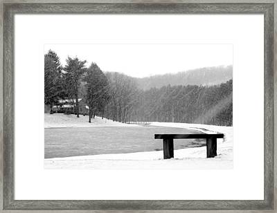 Framed Print featuring the photograph Lakeside Bench by Michelle Joseph-Long