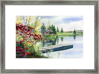 Lakeside Gazebo Framed Print by Hanne Lore Koehler