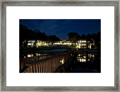 Lakeside Inn At Night Framed Print by Christopher Holmes