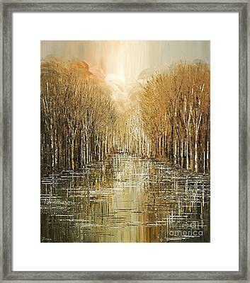 Framed Print featuring the painting Lakeside Song by Tatiana Iliina
