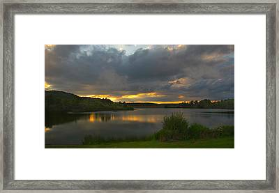 Lakeside Sunset Framed Print by Cindy Haggerty