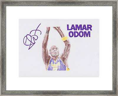 Lamar Odom Framed Print by Toni Jaso