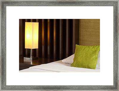Lamp And Bed Framed Print