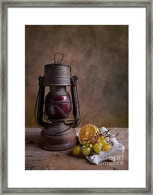 Lamp And Fruits Framed Print