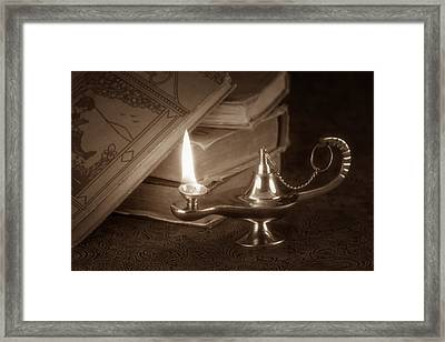 Lamp Of Learning Framed Print by Tom Mc Nemar