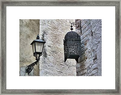 Lamp On Wall Framed Print by Jordi Sardà López