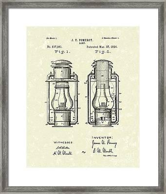 Lamp Pomeroy 1894 Patent Art Framed Print