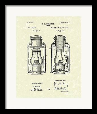Oil Lamp Drawings Framed Prints
