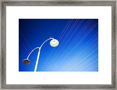 Lamp Post And Cables Framed Print
