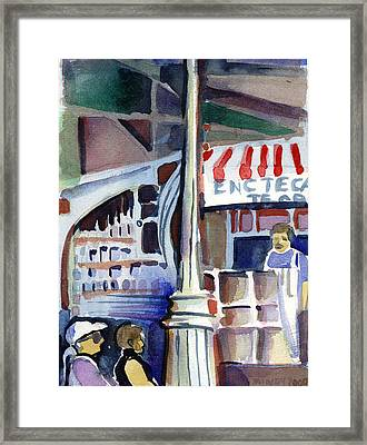 Lamp Post In The Cafe Framed Print by Mindy Newman