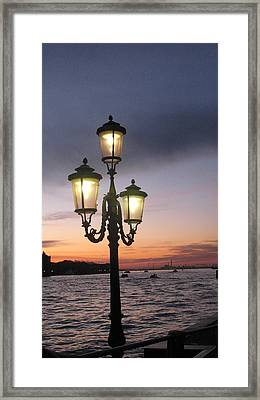 Lampost Sunset In Venice Framed Print by Catie Canetti