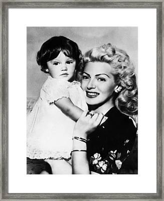 Lana Turner Right, And Daughter Cheryl Framed Print by Everett