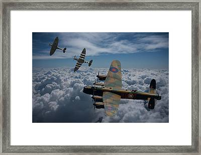 Lancaster Bomber And Spitfires Framed Print