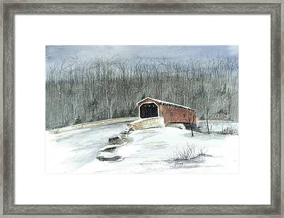 Framed Print featuring the painting Lancaster County Covered Bridge In The Snow  by Nancy Patterson