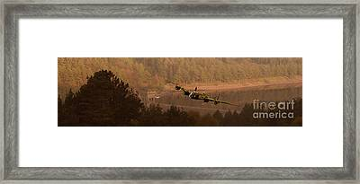 Lancaster Over The Dams Framed Print by Nigel Hatton