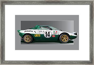 lancia stratos HF on grey Framed Print