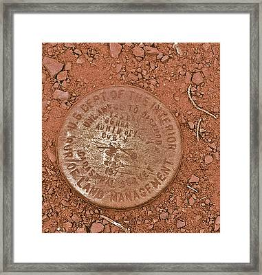 Framed Print featuring the photograph Land Survey Marker by Bill Owen