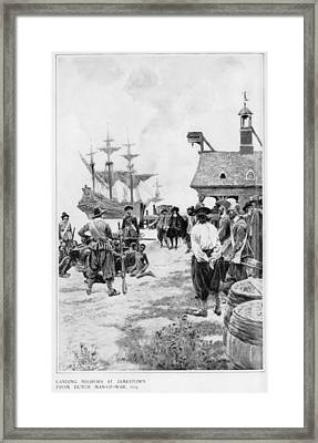 Landing Of 20 African Captives Framed Print by Everett