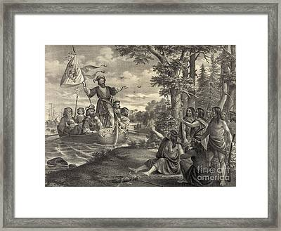 Landing Of Christopher Columbus Framed Print by Photo Researchers