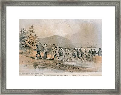 Landing Of The First Atlantic Telegraph Framed Print by Everett
