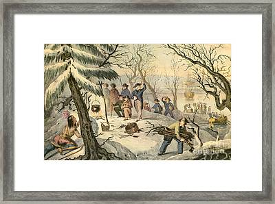 Landing Of The Pilgrims At Plymouth Framed Print