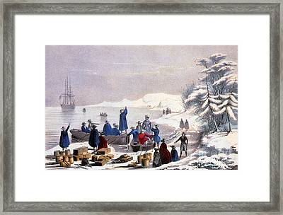 Landing Of The Pilgrims On Plymouth Framed Print by Photo Researchers