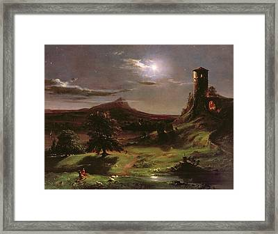 Landscape - Moonlight Framed Print by Thomas Cole