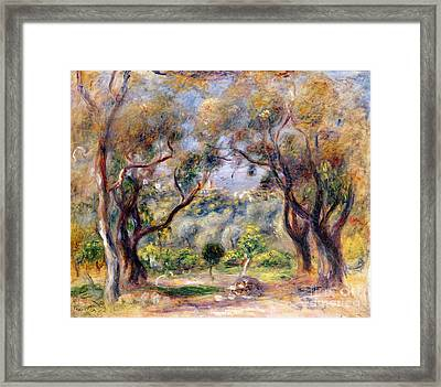 Landscape At Cagnes Framed Print by Pierre Auguste Renoir
