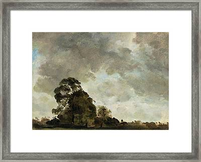 Landscape At Hampstead - Tree And Storm Clouds Framed Print