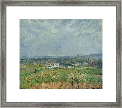 Landscape In Pontoise Framed Print by Camille Pissarro