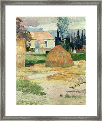 Landscape Near Arles Framed Print by Paul Gauguin