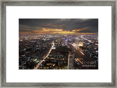 Landscape Of Bangkok Framed Print by Anek Suwannaphoom