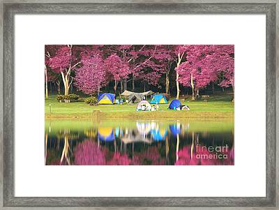 Landscape Of Pink Garden Framed Print by Anek Suwannaphoom